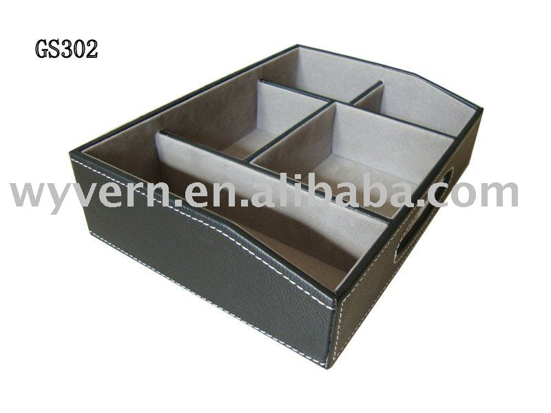 PU Leather Desk Organizer Stationery Box table storage box