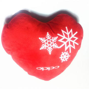 Plush red heart shaped pillow