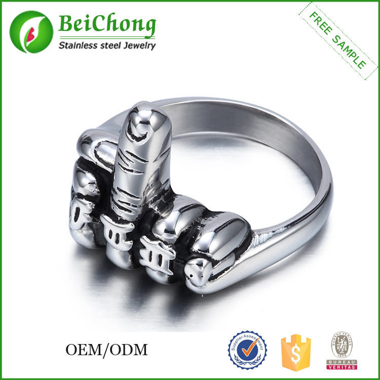 Cheap men funny middle finger wholesale stainless steel rings