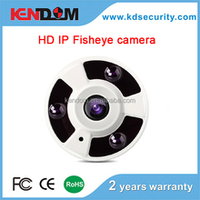 Kendom 1.0 Megapixel HD 720P fisheye ip camera 360 Degree Fisheye e-PTZ Dome Network with fisheye lens