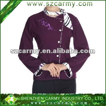 100%polyester hot sell fashion purple hotel/restaurant waiter uniforms
