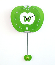Double Green Apple Shape Wall Clock Glass Clock Cover MDF Pendulum Wall Clock