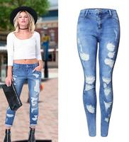 Z82324B latest new designs denim jeans photos ripped jeans pants women