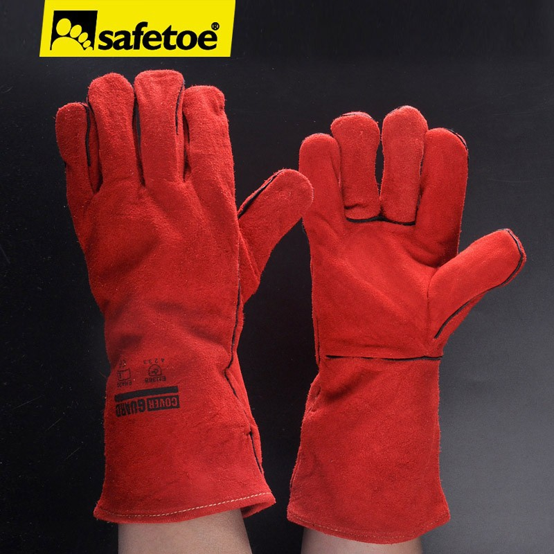 Red cow leather welding gloves,cow leather welding working glove, split cow leather work glove FL-1023R