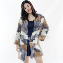 CX-G-A-03D Winter Women Real Natural Fashion Knitted Mink Fur Coat