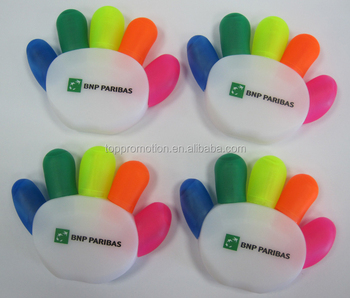 plastic hand shape 5 colored highlighter pen for promotion