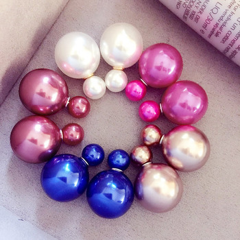 Hot Selling Jelly Candy Ball Two Sided Double Imitation Pearl Stud Earrings