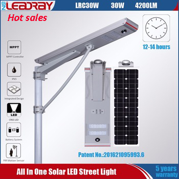 12v 30w lithium battery with motion sensor power integrated all in one solar led street light