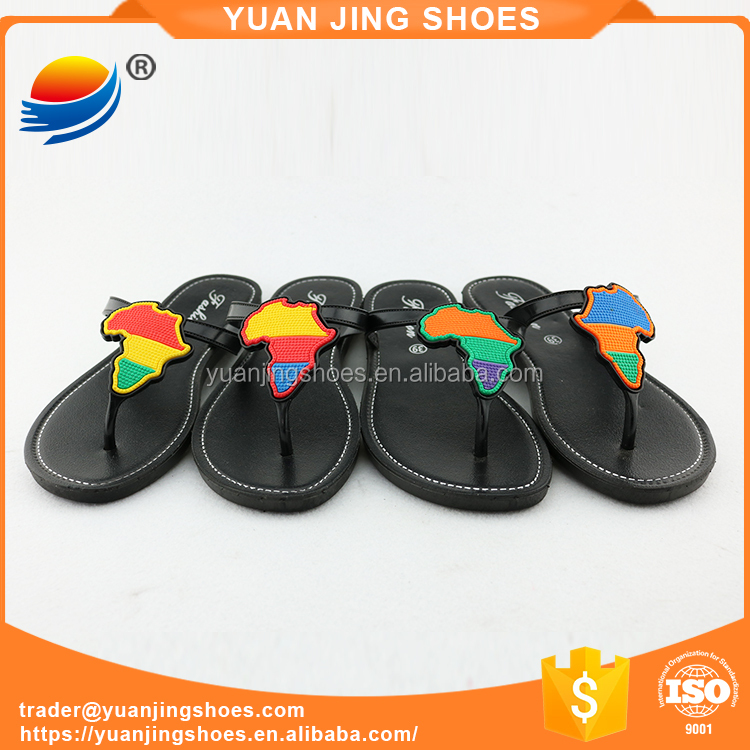 PVC Upper Material and PVC Outsole Material Ladies Fashion Flat Sandals Shoes Slipper Slide 1J523+12W