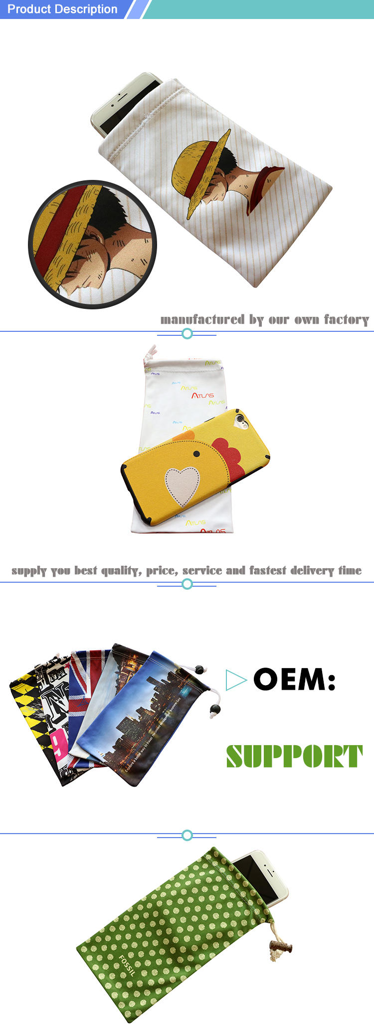 Promotional microfiber pouch for smartphone
