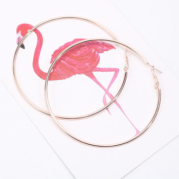 European Statement Rose Gold Hoop Earring 10CM Large Round Circle Big Hoop Earring For Girls