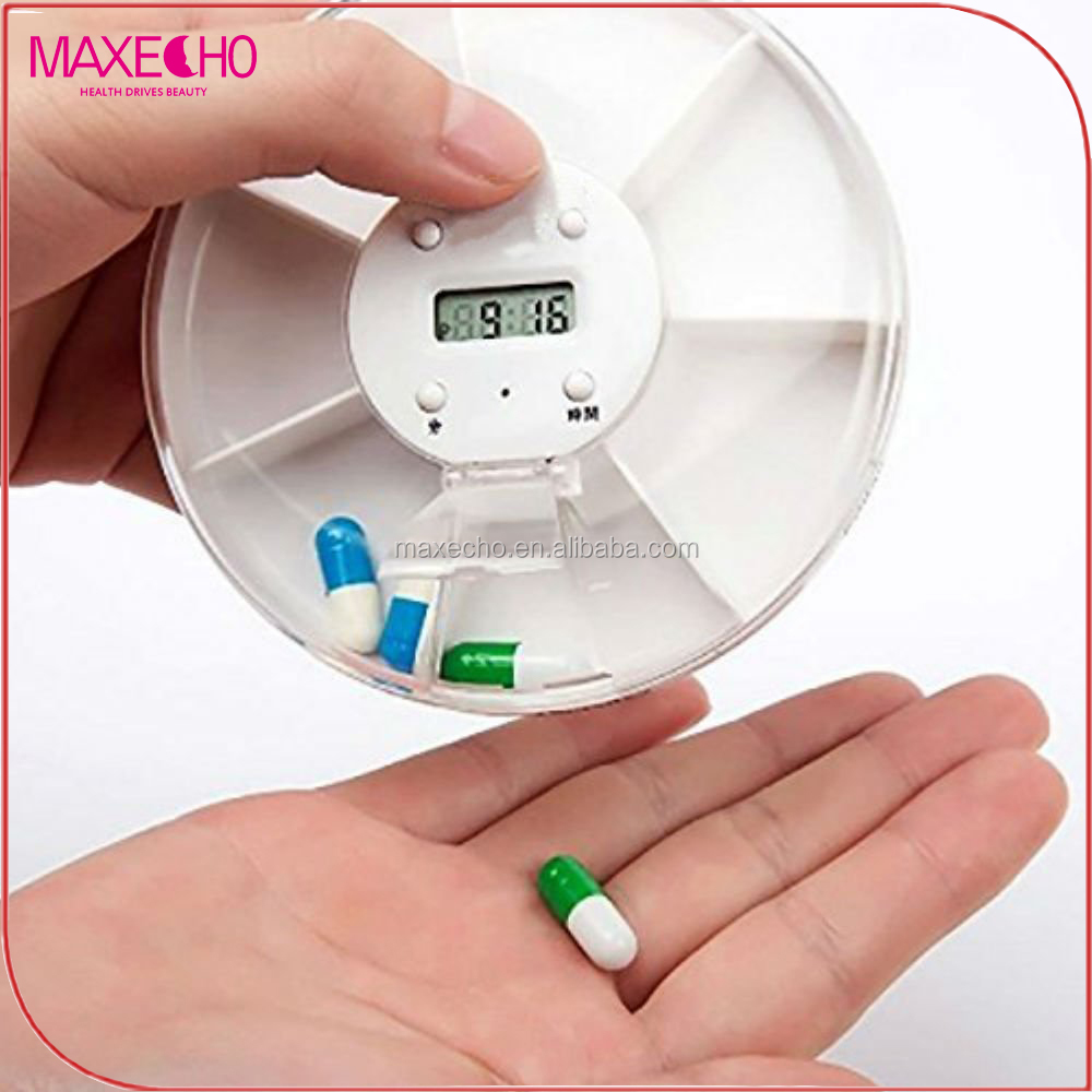 MAXECHO Portable 7 compartments Alarm Clock Pill Dispenser Electronic Intelligent Round Pill Boxes Electronic Timing Pill Case A