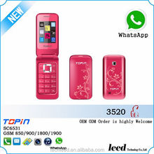 low cost new product H3520 mini flip cell phone