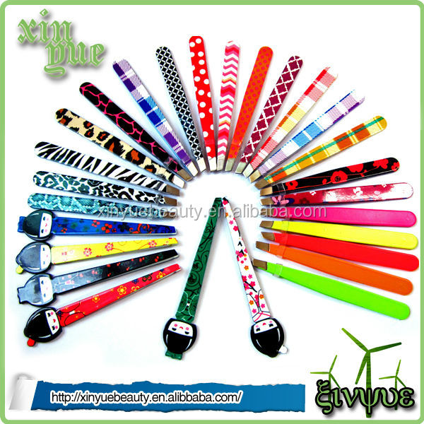 Professional high quality printing stainless steel eyebrow tweezer with girls style
