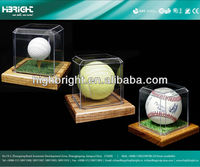 Golf Ball/ Baseball Acrylic Display Case Tennis Wood Base for Collectibles