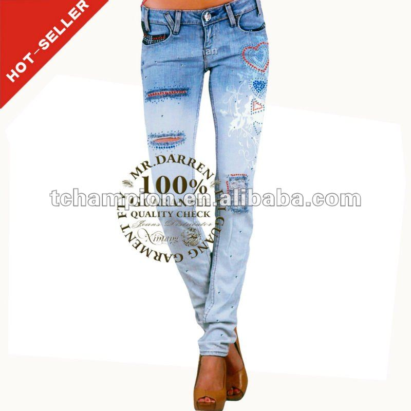(#TG347W ) 2013 crazy age us top jeans with silk