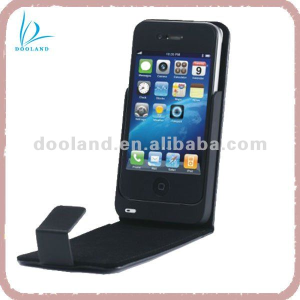 New stylish luxury external battery charger case made in leather for iphone 4/4s