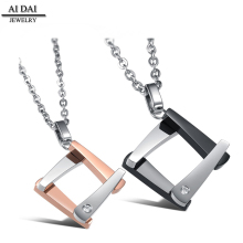 Titanium steel jewelry couple pendant color combinations, not the same love Valentine necklace