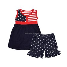 Hot Selling!!! Newborn baby girls national day ruffles boutique clothes sets kids clothing wholesale