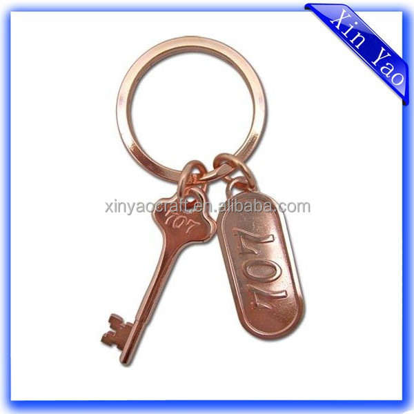 Fashion cheap custom rose gold metal room hotel key rings