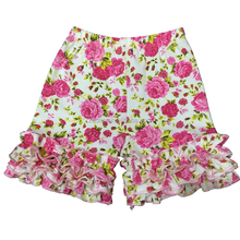 fashion girl baby floral ruffle shorts with three layers wrinkle hem fit 6months -10yrs