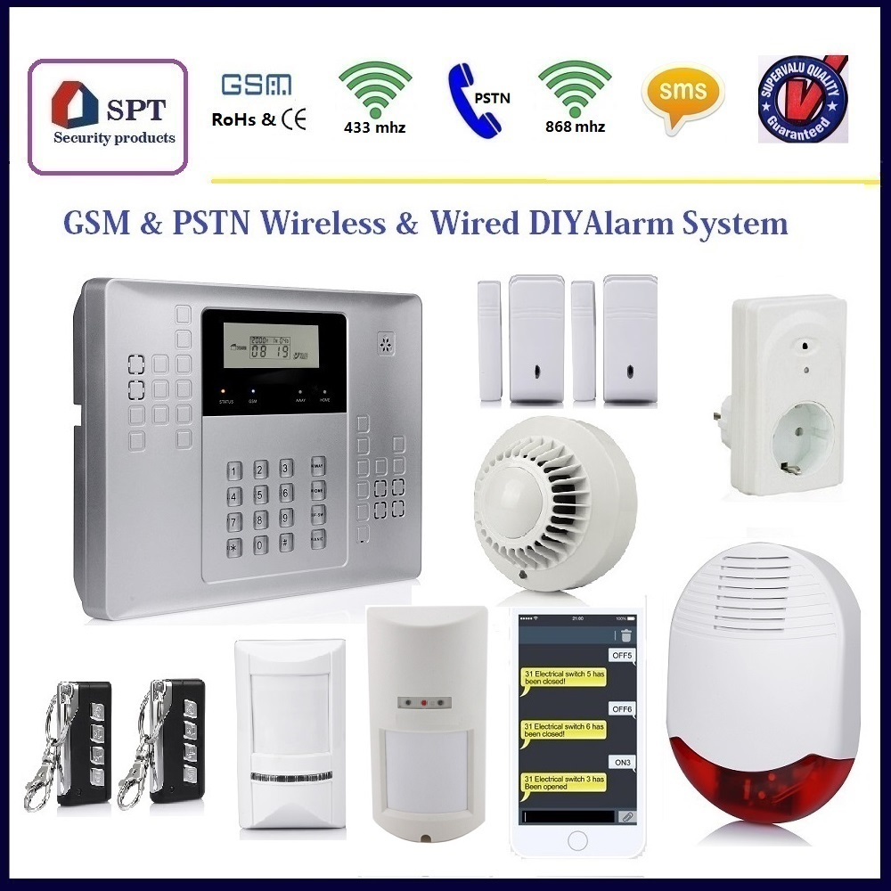 Wired/Wireless GSM Security Alarm home intruder alarm system with CE,RoHS certificates