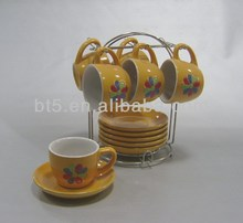 Colorful flower design ceramic stackable coffee mugs with rack