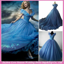 RW0001 Real photos Cinderella dress Fancy With Butterfly For Cinderella Cosplay Costume Princess 2015 blue cinderella dresses