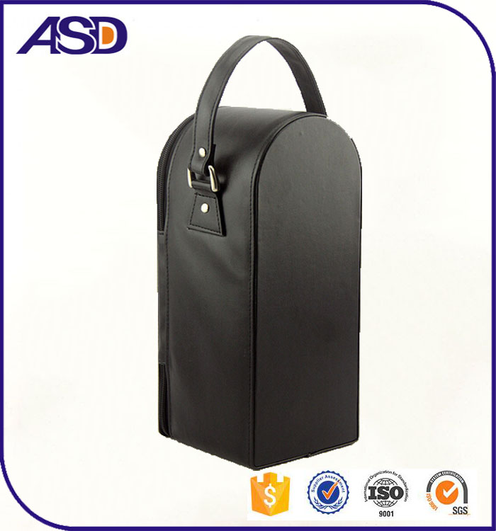 customized loto printing Black leather wine bags with handle