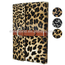 Luxury Briefcase Style Leopard Pattern Leather Case with Holder for ipad 2&3&4