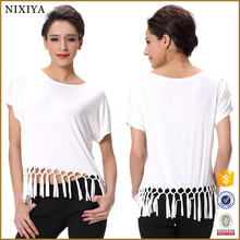 Pretty White Knitted Fringe Ladies Tops Images