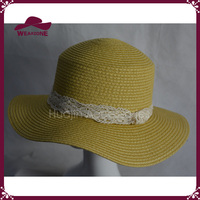 100% paper ladies summer hat straw boater hat with lace