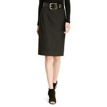 concealed center back zipper vented back hem top quality office skirts designs pinstriped pencil skirt