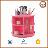 360 degree rotating 2015 fashion wholesale cosmetic storage box/makeup case