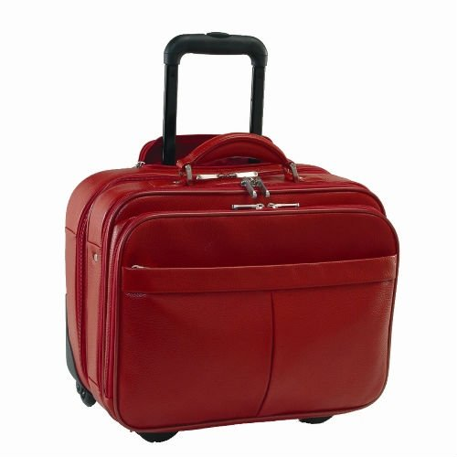 Lady real leather trolley luggage