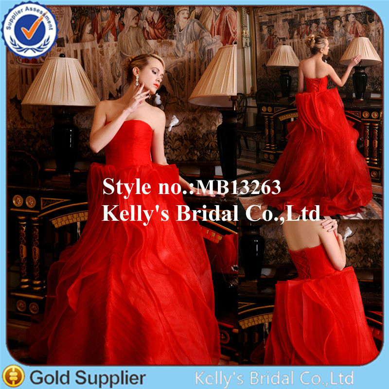 Fashion latest popular modern design frill leaf ruffle red wedding dress pictures