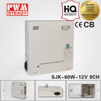 SJK-60-9CH 12v monitoring system 9 Multiple Channel output 12v 5a switching power supply 60w12v5a CCTV power supply box