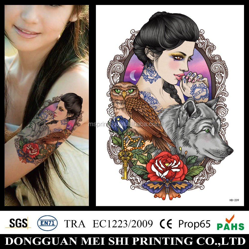 High quality custom water transfer temporary naked woman body tattoo sticker