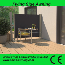 Outdoor retractable wind screen side awning for balcony/door entrance awning