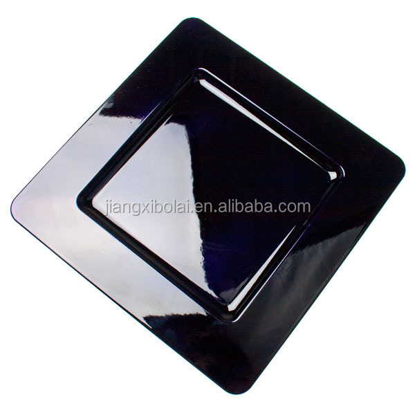black plastic charger plates/plate/ dish/dishes contain fruit and vegetable and cake on sale