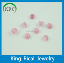 pretty synthetic pink round cabochon and heart shape cat's eyes loose gemstones for decoration