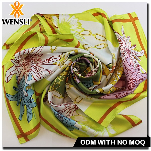 raw fashion silk scarf , peach silk scarf from china floral printed satin fabric