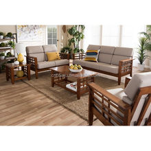 Modern Classic Mission Style Cherry Finished Wood Furniture Beige Fabric High Back Cushioned Living Room Sofa 5-piece Set