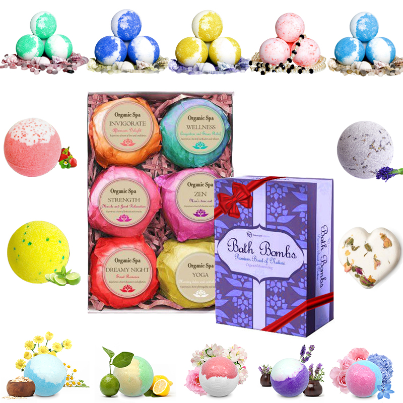 wholesale gift set ball colorful natural custom private label organic fizzy bath bombs