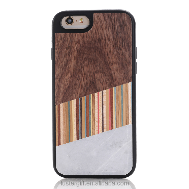 Luxury fashion for iPhone 6S phone case marble hybrid wood hard case