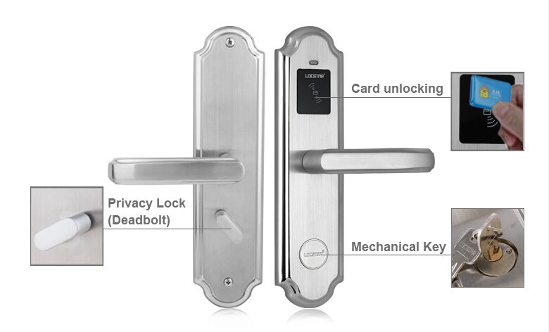 High quality stainless steel electronic RFID card lock for hotel