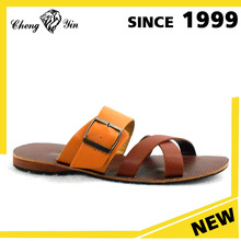 Wholesale New Model Buckles Style Coffee Insole Summer PU Upper Slides Slippers for Men