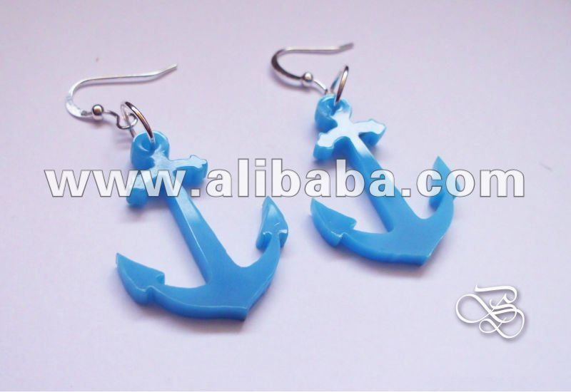 Acrylic Jewelry - Laser cut earrings 'Sailing & Sea - Anchor'