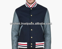 Dark blue wool body leather arms varsity jackets for men