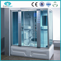Latest new design luxury indoor bathroom portable shower massage tempered glass steam shower room for sale